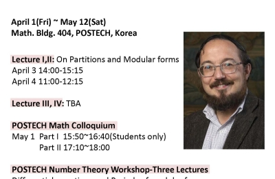 POSTECH Mathematics Lecture Series by Prof. Don Bernard Zagier